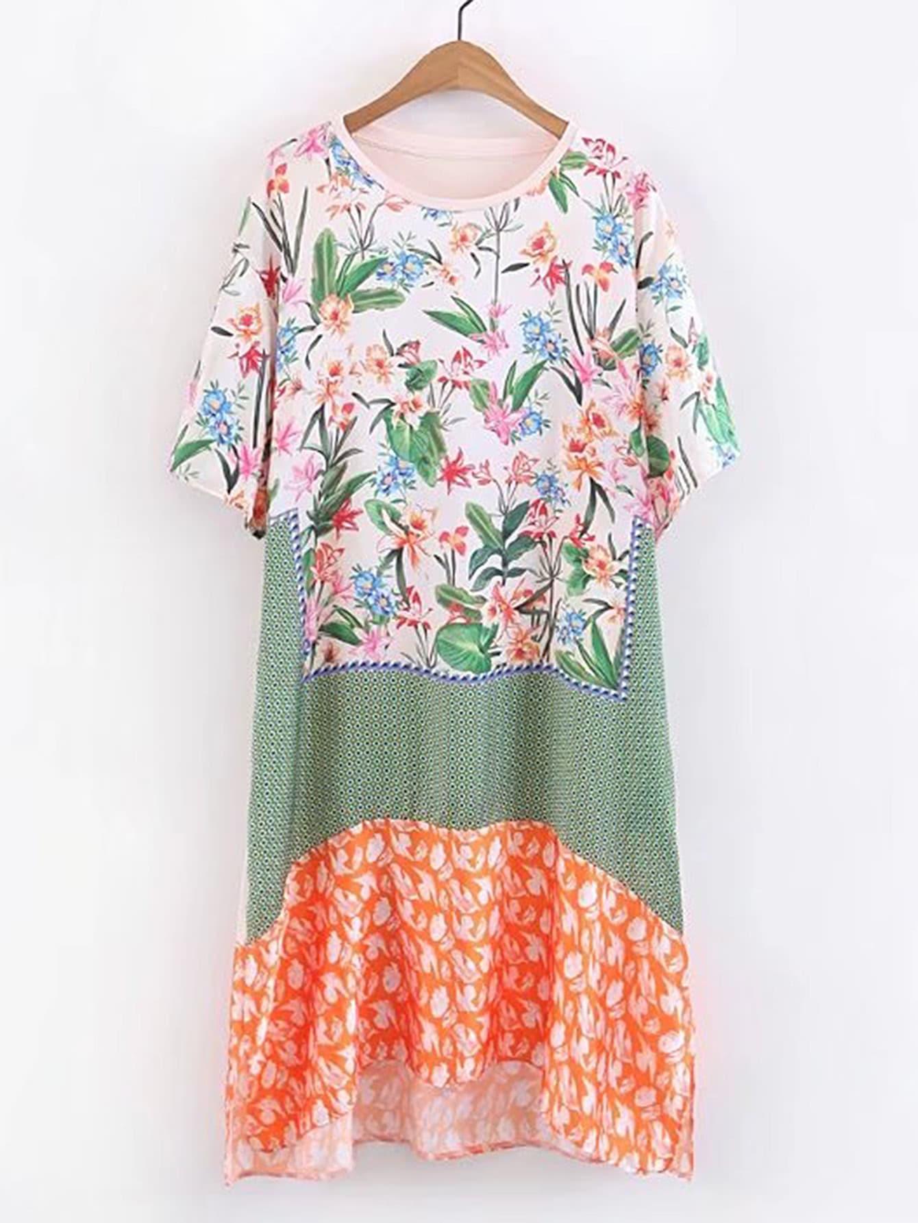 Фото Floral Print High Low Dress. Купить с доставкой