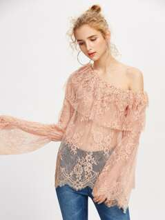 Frill One Shoulder Fluted Sleeve Lace Top