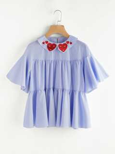 Embroidered Flat Collar Flutter Sleeve Flowy Tiered Top