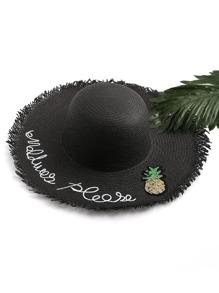 Chapeau en paille imprimé de l'ananas