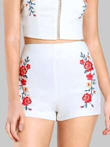Floral Embroidered High Rise Shorts WHITE