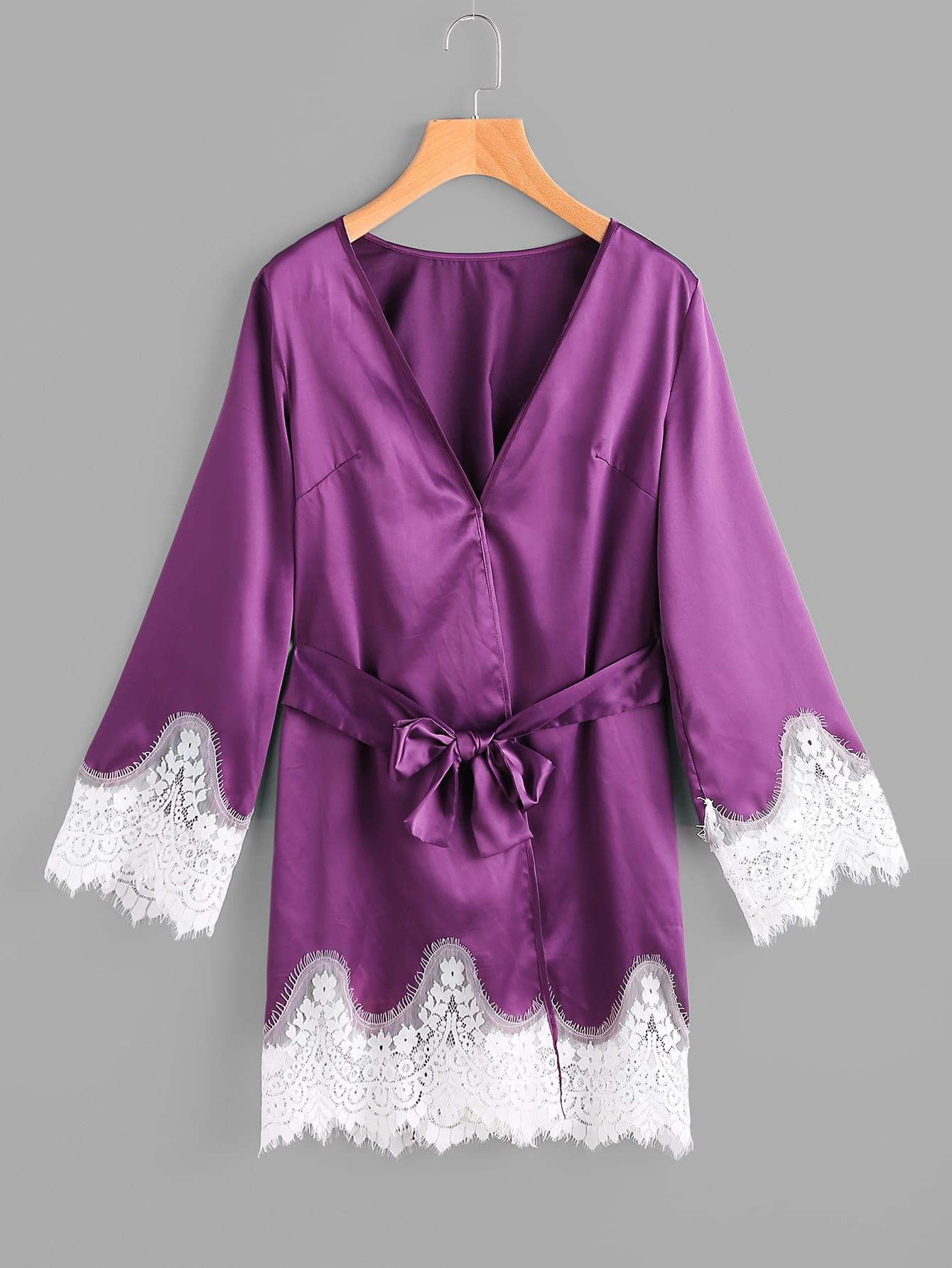 Фото Lace Trim Surplice Nightdress With Belt. Купить с доставкой