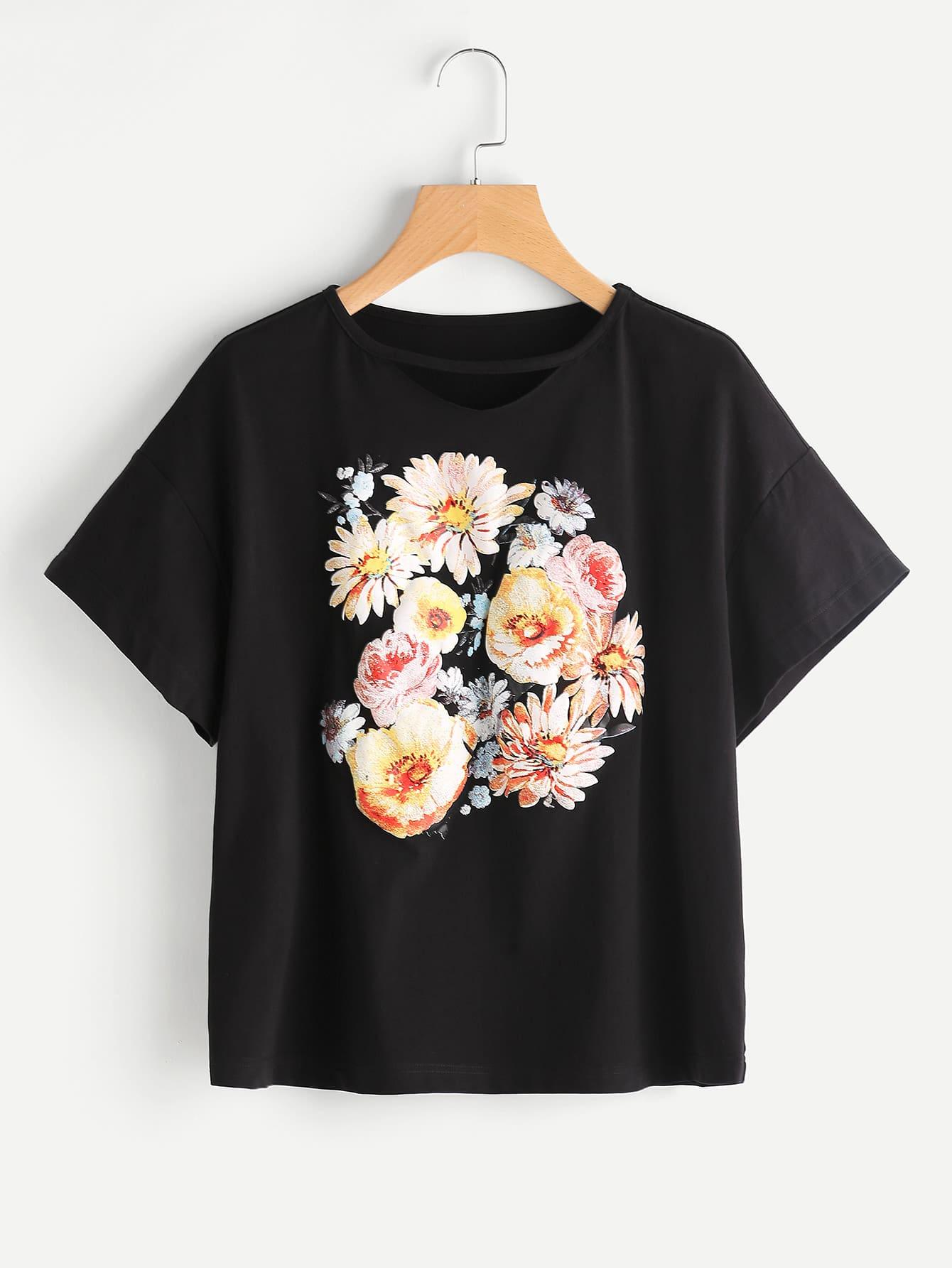 Фото Flower Print Drop Shoulder Tee. Купить с доставкой
