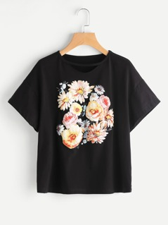 Flower Print Drop Shoulder Tee