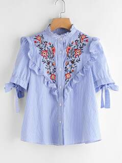Frilled Embroidered Yoke Tie Sleeve Striped Blouse