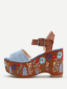 Flower Embroidery Denim Wedge Sandals