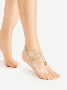 Layered Chain Anklet With Toe Ring