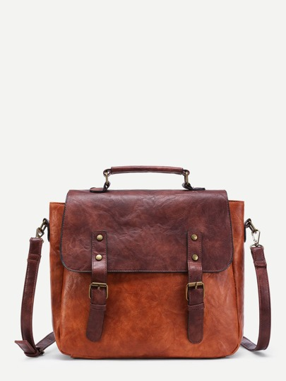 Two Tone Double Buckle PU Messenger Bag
