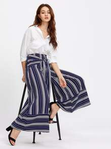 Self Tie Mixed Stripe Palazzo Pants