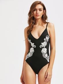 Floral Lace Applique Low Back Cami Bodysuit