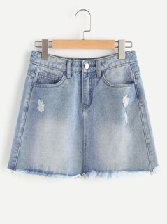 Faded Wash Frayed Hem Mini Denim Skirt