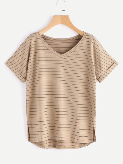 Slit Side High Low Cuffed Striped Tee