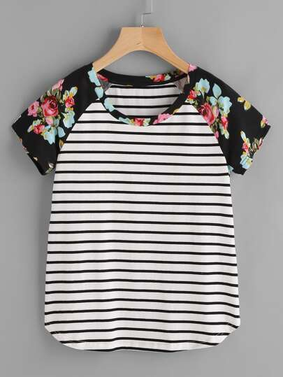 Floral Raglan Sleeve Striped Curved Hem Tee