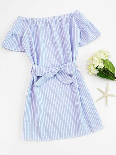 Off Shoulder Vertical Striped Self Tie Waist Dress
