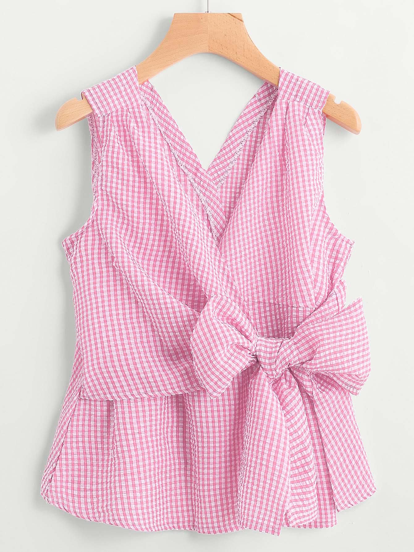 V-Neckline Bow Tie Detail Gingham Top pearl detail layered frill sleeve top