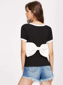 Contrast Bow Back Ribbed Ringer Tee