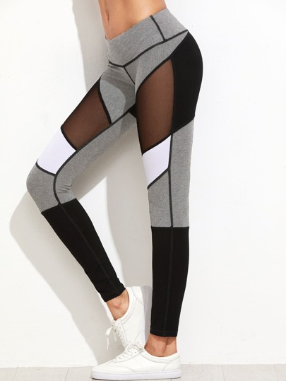 Color Block Mesh Insert Heather Knit Leggings