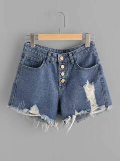 Button Front Frayed Denim Shorts