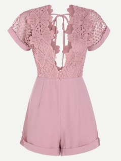 Plunging V-Neckline Contrast Lace Playsuit