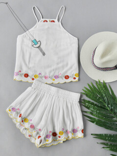 Open Back Embroidered Flower Trim Cami And Shorts Set