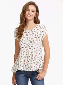 Calico Print Frill Trim Tie Back Top