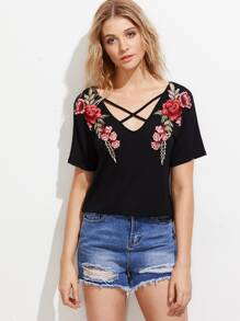 Symmetrical Applique Crisscross Front Tee