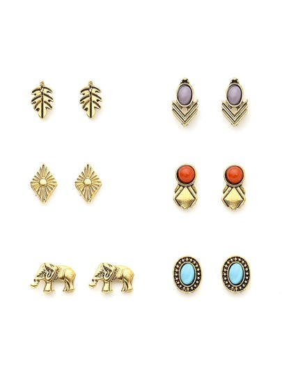 Leaf And Elephant Design Earring Set With Gemstone