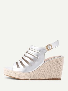 Metallic Cut Out PU Wedge Sandals