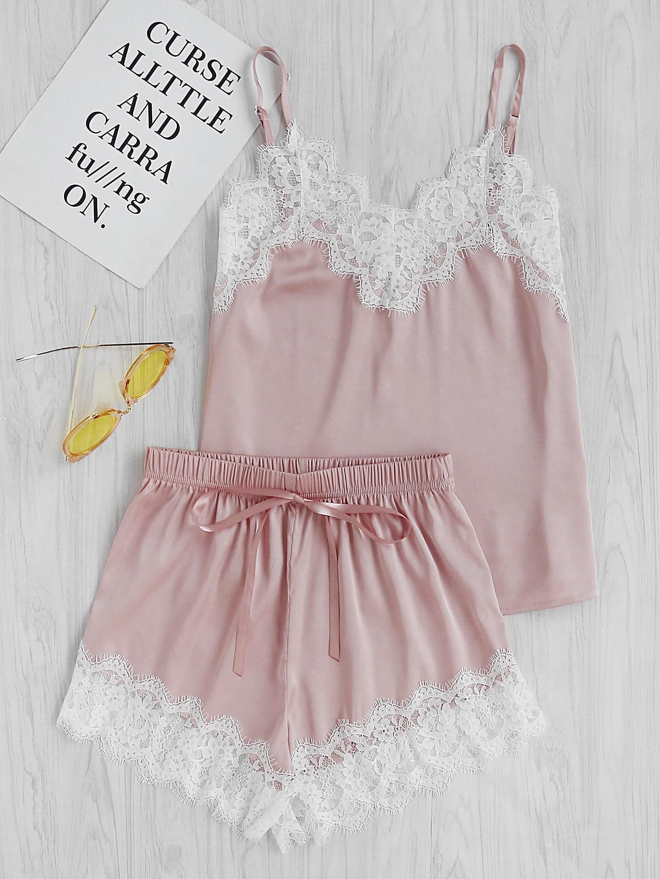 Фото Lace Trim Satin Cami And Shorts Pajama Set. Купить с доставкой
