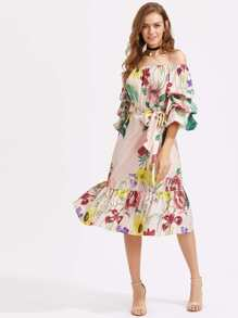 Bardot Tiered Lantern Sleeve Flounce Hem Self Tie Dress