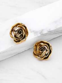 Rhinestone Detail Rose Shaped Stud Earrings