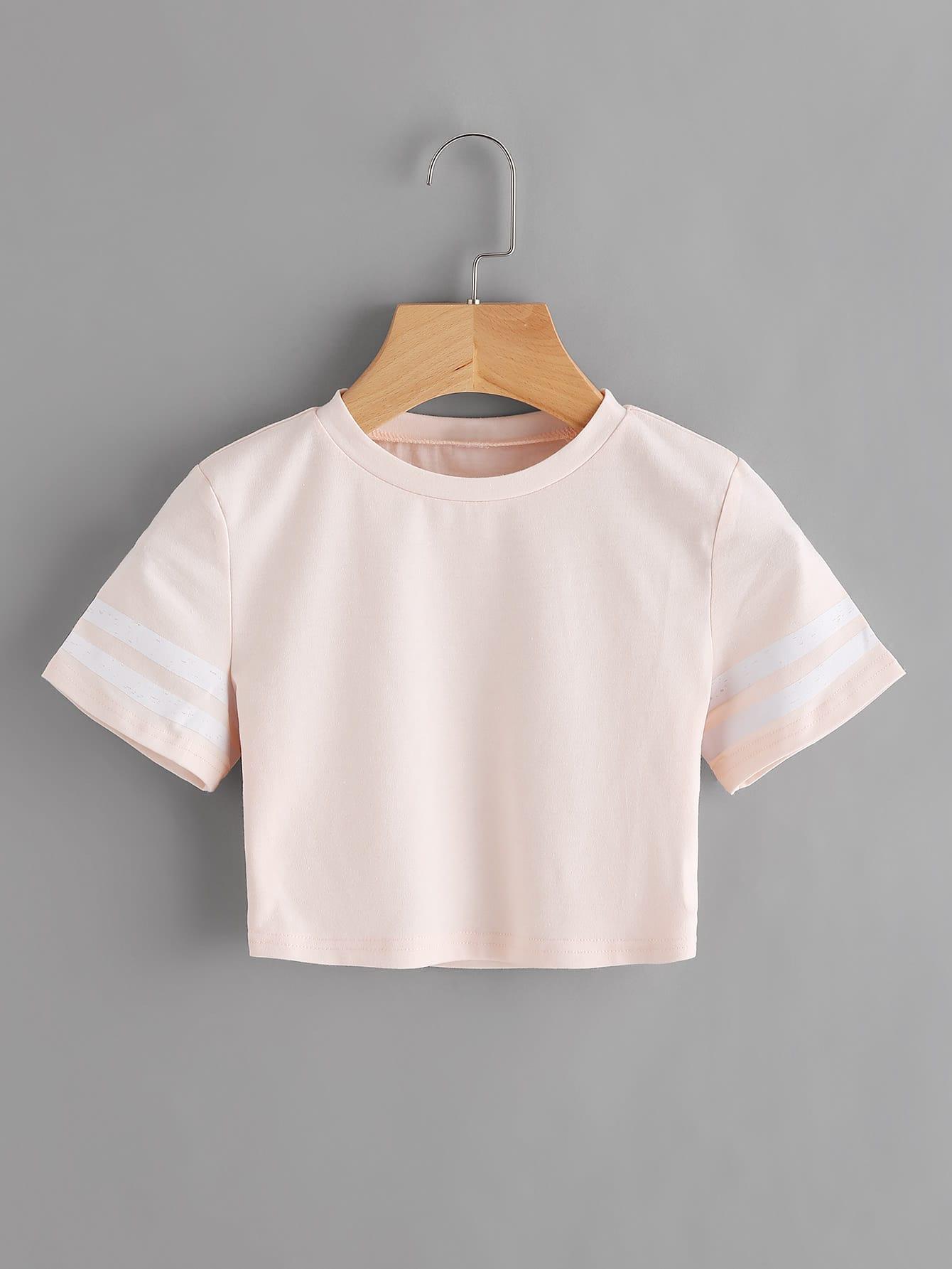 Фото Varsity Striped Crop T-shirt. Купить с доставкой
