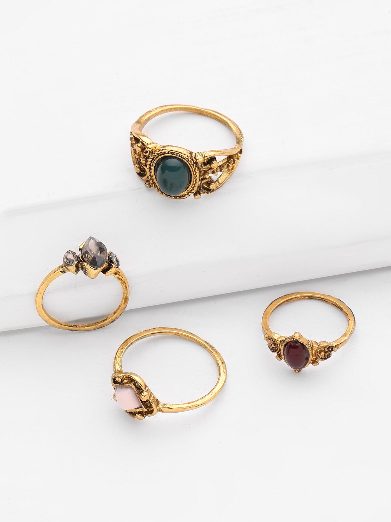 Gemstone Design Retro Ring Set 4pcs