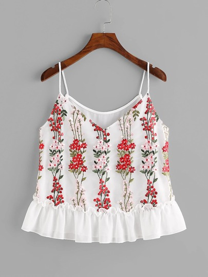 Blossom Embroidery Tulle Overlay Ruffle Cami Top