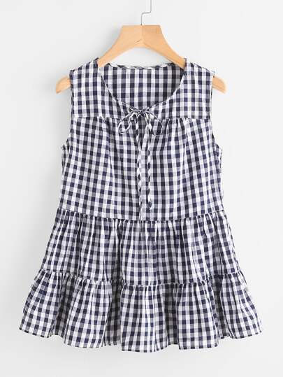 Tie Front Tiered Gingham Top