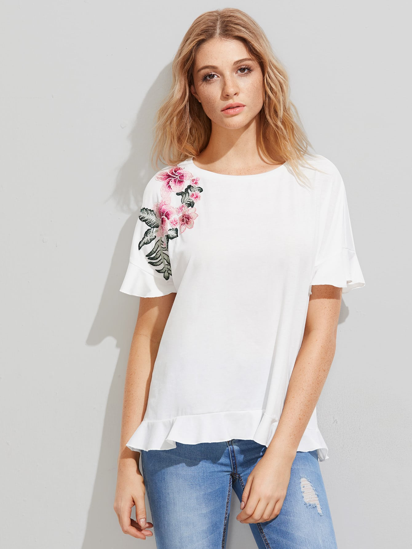 Embroidered Flower Patch Frill Trim Tee frill trim tee