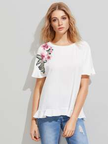 Embroidered Flower Patch Frill Trim Tee