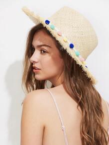 Sombrero playero de paja con pompones