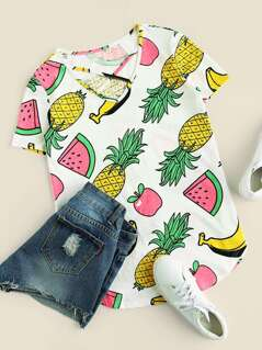 Allover Fruit Print Crisscross Dolphin Hem Tee