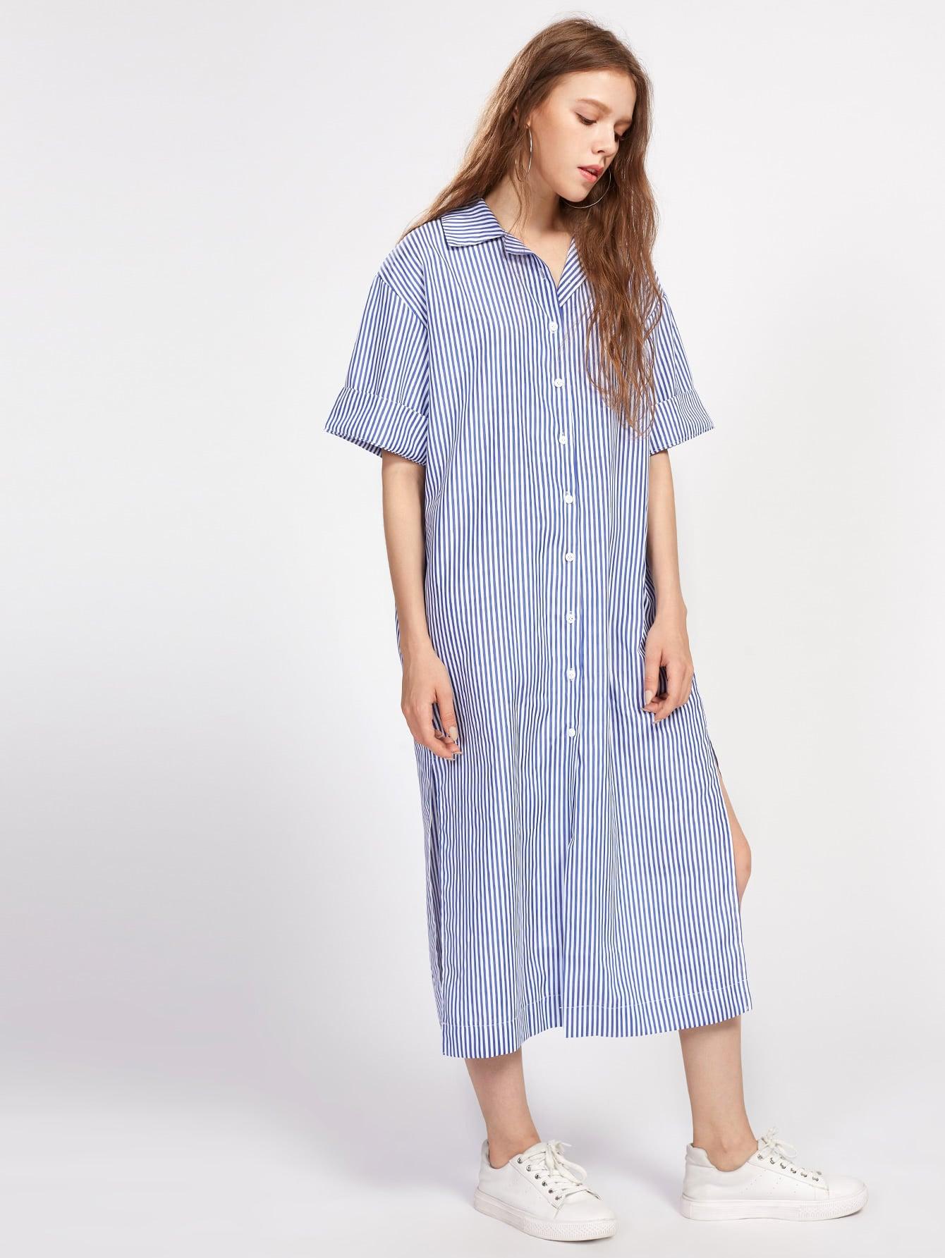 все цены на Vertical Striped Revere Collar Slit Side Shirt Dress онлайн