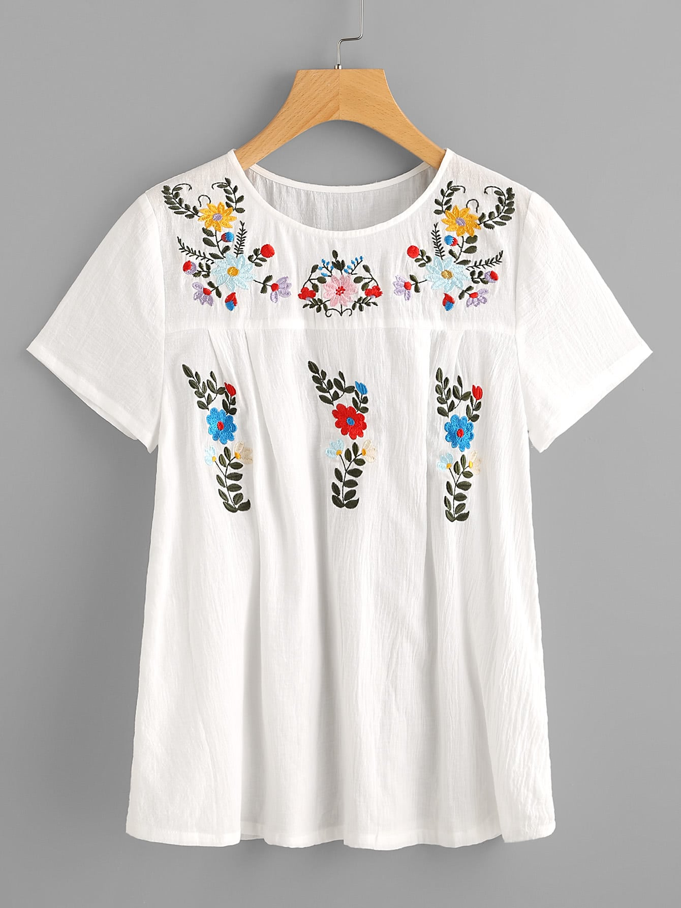 Flower Embroidered Fold Pleat Back Crinkle Top back pleat embroidered striped shirt