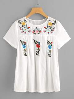 Flower Embroidered Fold Pleat Back Crinkle Top