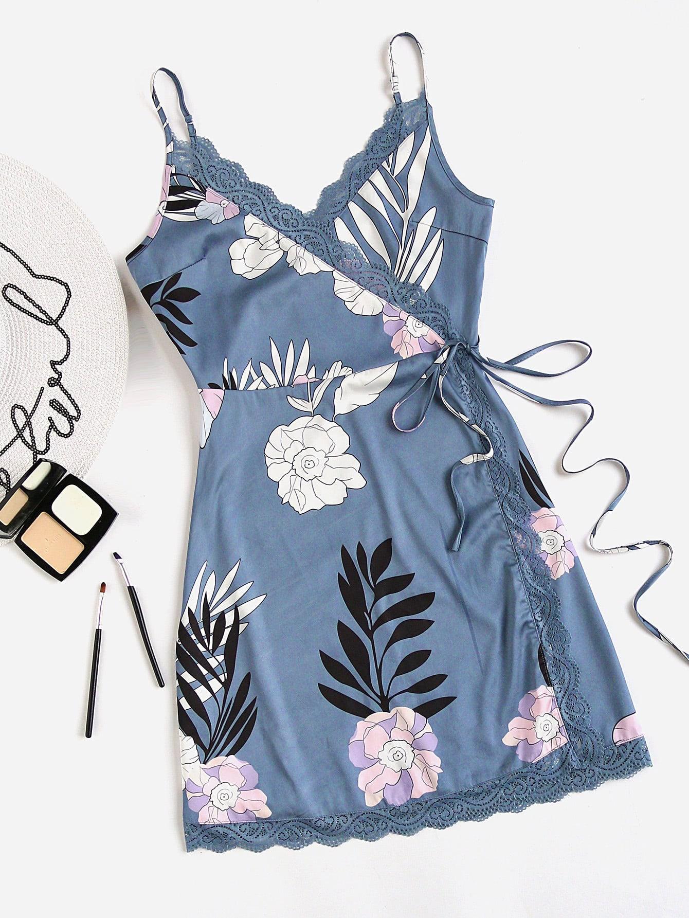 Фото Flower Print Lace Trim Surplice Wrap Slip Dress. Купить с доставкой