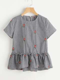 Sunflower Embroidered Frill Trim Checkered Top