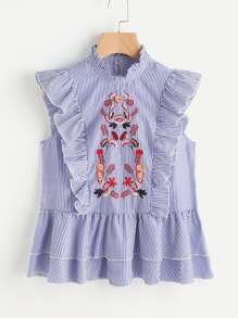 Symmetric Embroidery Frill Trim Blouse