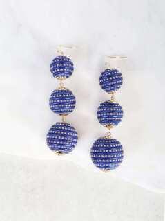 Oversized 3 Tier Bon Bon Earrings BLUE