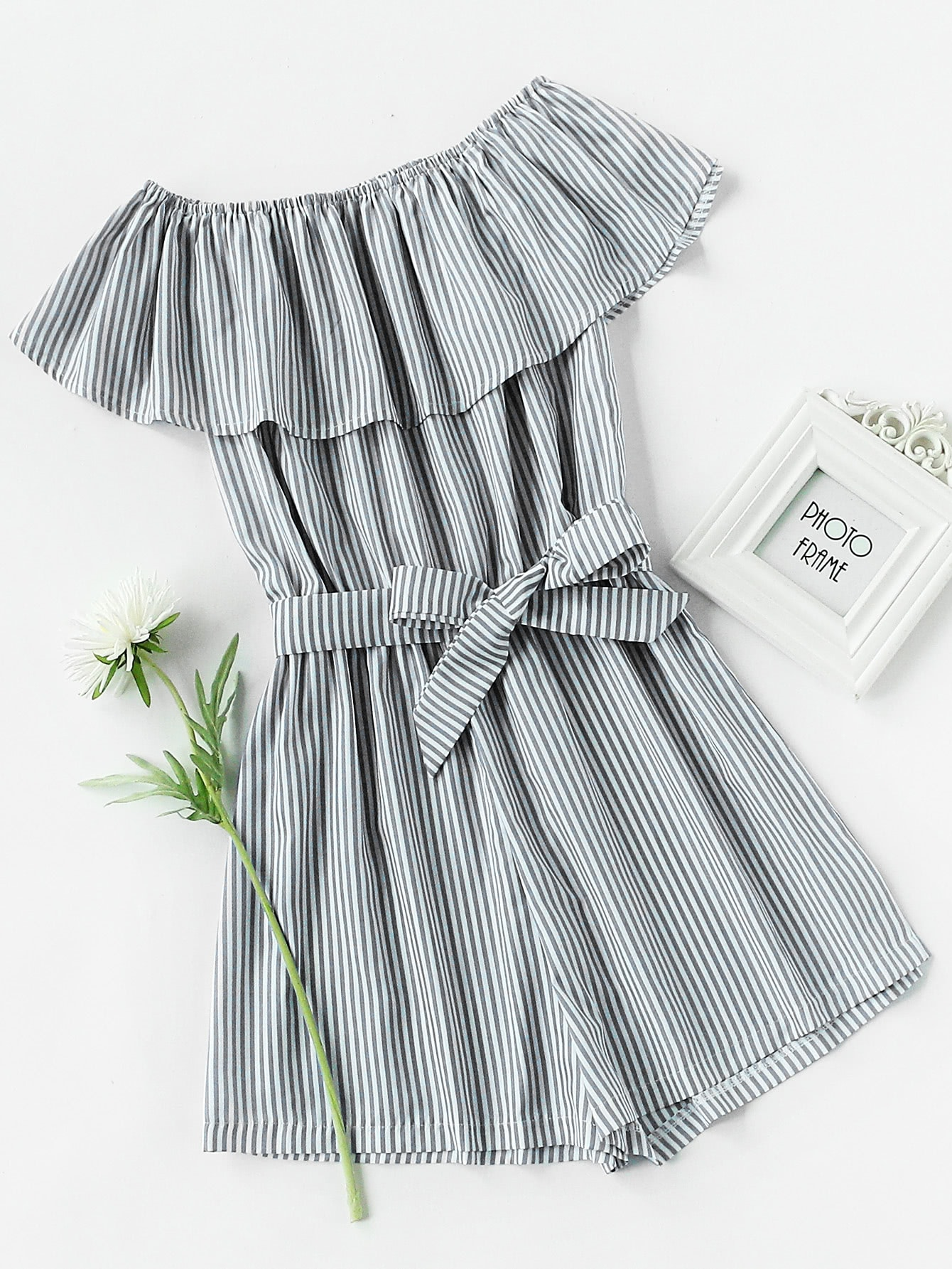 Frill Layered Self Tie Vertical Striped Romper frill waist self tie plaid pants