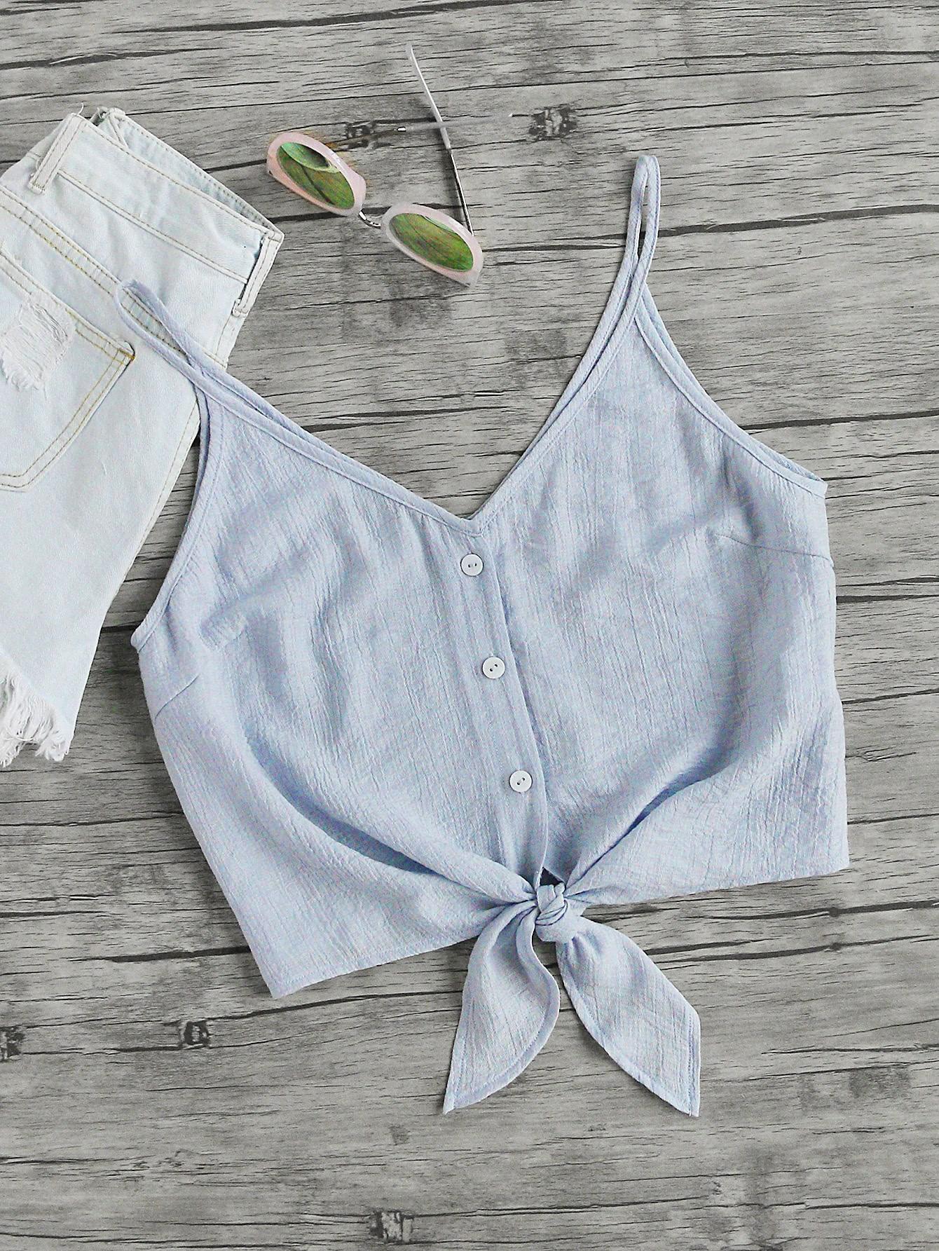 Button Placket Knot Front Cami Top vest170626702