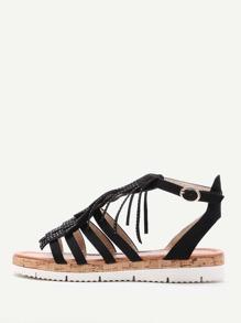 Fringe Design Strappy Flat Sandals