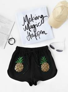 Sequin Pineapple Patch Drawstring Dolphin Shorts